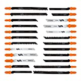 24pcs Jig Saw Blades, Tacklife T-Shank Jigsaw Blades Set with Storage Tube, Ideal for Cutting Wood, Metal, Hardwood, Aluminum, Non-Ferrous Metal | AJSB01A