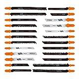 Tacklife 24pcs Jig Saw Blades, T-Shank Jigsaw Blades Set with Storage Tube, Ideal for Cutting Wood, Metal, Hardwood, Aluminum, Non-Ferrous Metal - AJSB01A