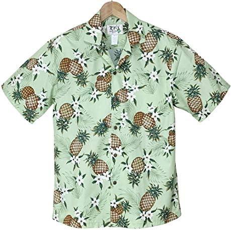 アロハシャツ メンズ ハワイ製 フレッシュグリーン・パイナップル柄 黄緑色 コットン KY'S