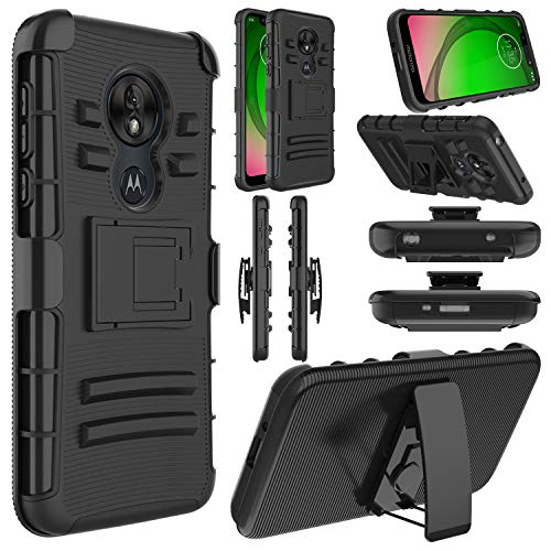 Moto G7 Play Case, Moto G7 Optimo Case, Elegant Choise Hybrid Shockproof Heavy Duty Full Body Protective Rugged Holster Case Cover with Kickstand and Swivel Belt Clip for Motorola G7 Play(Black)