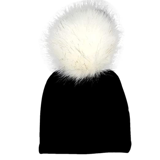 Weiyun Baby Winter Hairball Hat Baby Bobble Beanies Cotton Caps Big Faux  Fur Pompom Hats Kids 863134dc62e