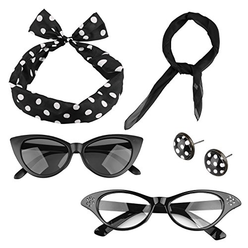 Spooktacular 5 Pack 50s Scarf Cat Eye Glasses Bandana Tie Headband Earrings