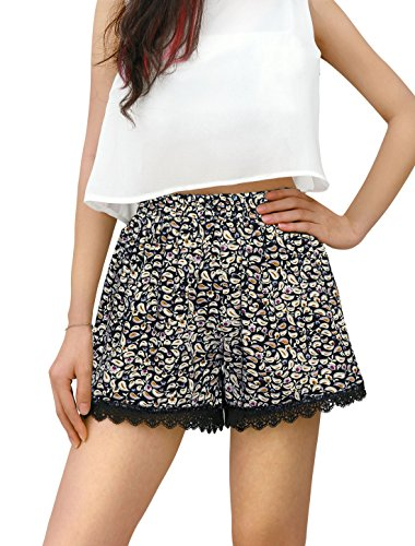 Allegra K Women's Shorts Allover Floral Printed Lace Trim Hem Elastic Waist Beach Shorts Beige-Paisley S (US 6)
