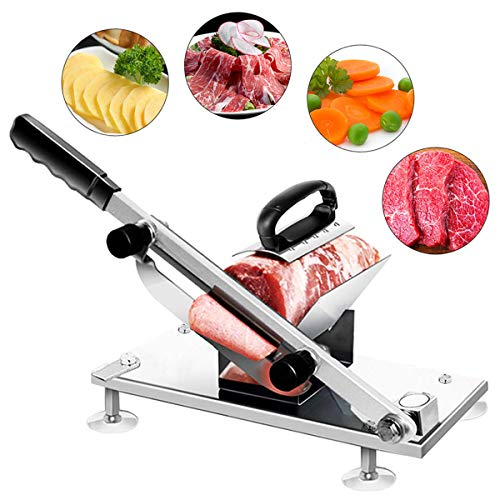 Frozen Meat Slicer Hand Slicing Machine Stainless Steel Frozen Beef Mutton Bacon Meat cutter Vegetable Fruit meat cleaver for Home Kitchen and Commercial Use (Sliver) (Meat Slicer Frozen)