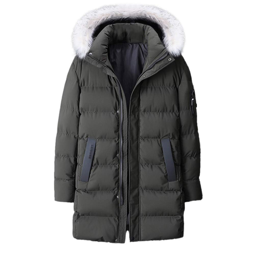 YKARITIANNA Men's Long Fit Quilted Medium Length Zipper Plus Size Hooded Pure Color Thickened Cotton Coat Overcoat