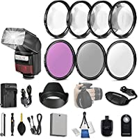 58mm 21 Pc Accessory Kit for Canon EOS Rebel T3i, T5i, 300D, 700D DSLRs with LED-Flash, UV CPL FLD Filters, & 4 Piece Macro Close-Up Set, Battery, and More