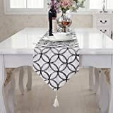 Modern silver circle white tassel table runner for wedding party home decorative 72 inch approx