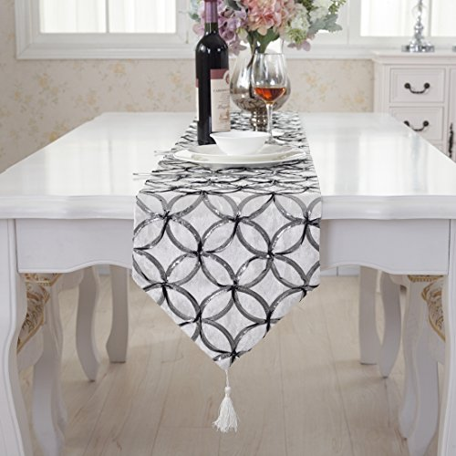 Modern silver circle white tassel table runner for wedding p