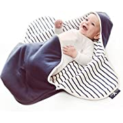 Wallaboo Baby Blanket Coco, Classic Soft 100% Cotton, Multi-Use, 34 x 28 inch, Blue striped