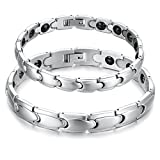 Feraco Women Sleek Titanium Stainless Steel Magnetic Therapy Bracelet in Velvet Gift Box with Free Link Removal Tool