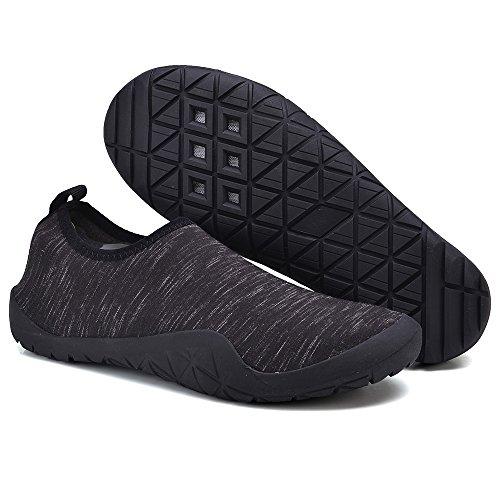 UNN Männer Barfuß Quick-Dry Aqua Flexible Socken Slip On Water Schuhe mit Entwässerung Loch Schwarz