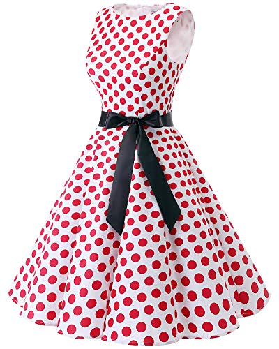 Retro Vintage Red Party Dot Rockabilly White Cocktail Big Dress Women's Swing 1950s Bbonlinedress TqwxU5t5