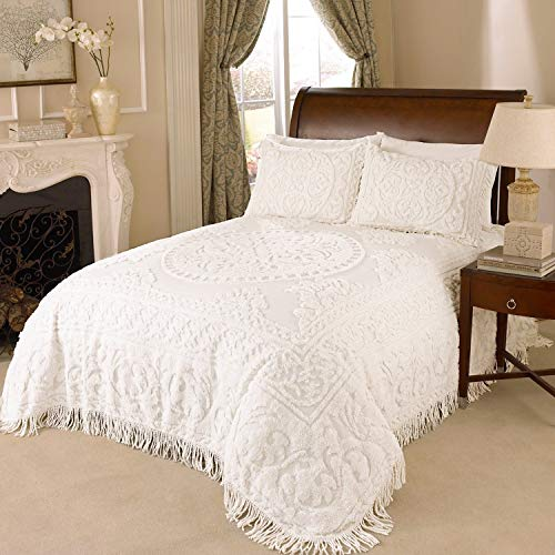 MISC Oversized White Chenille Bedspread Queen 102x118 Vintage Victorian Extra Long Bedding to The Floor Tufted Wedding Ring Old Fashioned Traditional Medallion Antique Classic Cotton, 1 Piece