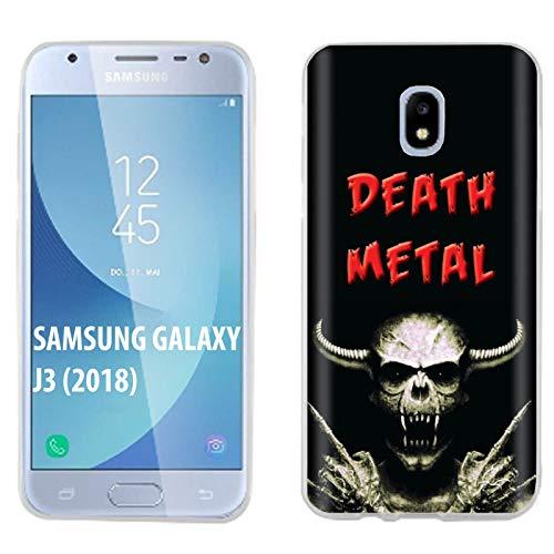 [Mobiflare] Samsung Galaxy J3 2018/Amp Prime 3/Express Prime 3/Achieve/Star/J338 Ultraflex Thin Gel Phone Cover [Death Metal Skull Print] (Best Amp For Death Metal)