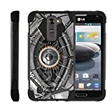 TurtleArmor | Compatible for LG K7 Case | LG Tribute 5 Case | LG Treasure Case [Dynamic Shell] Impact Cover Hard Kickstand Hybrid Shock Fitted Silicone Military War Robot Android - Cyborg Eye
