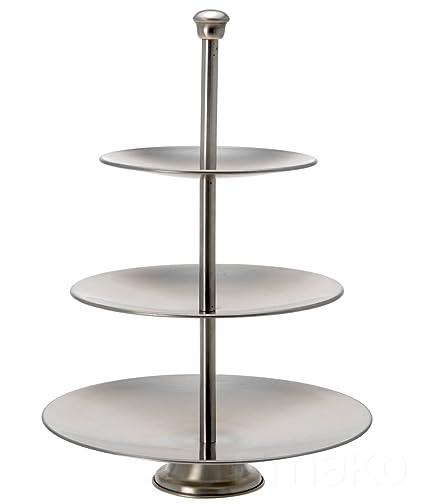 Acero inoxidable Etagere 3 niveles/3 piezas – Frutero Cuenco para pastas – Bandeja para tartas