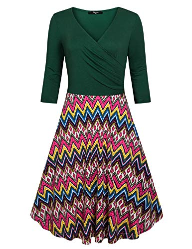 Sleeve Dresses Flared Neck Cross 4 Ckuvysq Deep green V Line Dress 3 A Women's 8IqS4w0