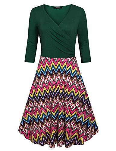 Cross A V Women's Line Ckuvysq Neck 3 green Dresses 4 Sleeve Deep Flared Dress Zz5qwqEp