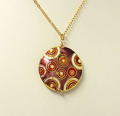 Vintage Abstract Circles Cloisonne Necklace