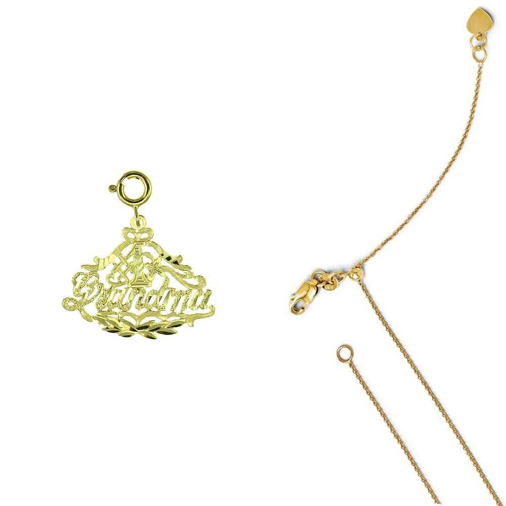 14K Yellow Gold #1 Grandma Pendant on an Adjustable 14K Yellow Gold Chain Necklace