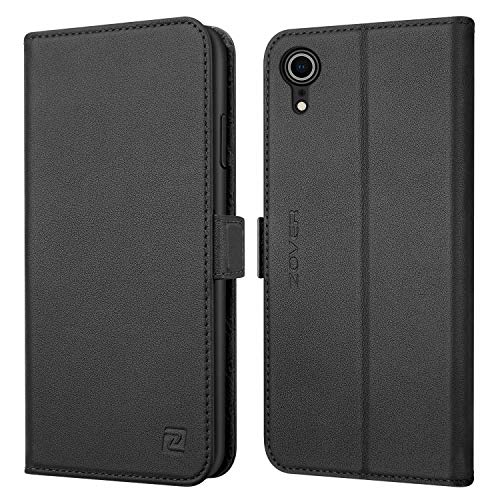 Zover iPhone XR Leather-Black Compatible iPhone XR Case Leather Wallet Folio Flip Cover Genuine Leather Kickstand Feature Card Slots Gift Box Black, Undetachable Black