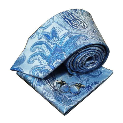 Blue pattern neck ties gifts for him Italian style silk ties cufflinks hanky set H5139  Blue