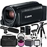 Canon VIXIA HF R800 Camcorder (Black) 12PC Accessory Bundle (Certified Refurbished) – Includes 64GB SD Memory Card + 3PC Filter Kit (UV + CPL + FLD) + MORE