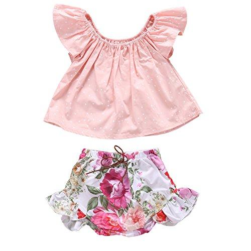 2 Piece Infant Ruffle Sleeve Denim Top + High Waist Floral Shorts Outfit Set (6-12M, Pink) (Girls Pink Denim)