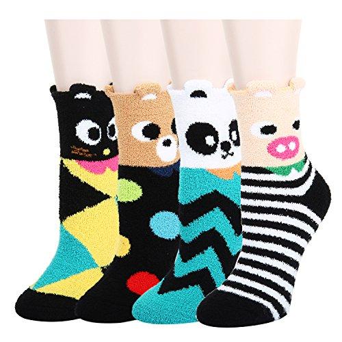 4 Pack Anti-Slip Fluffy Fuzzy Slipper So...
