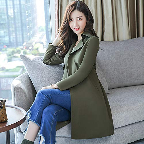 Female green Jackets San Army Jacket SCOATWWH amp; Sau Women'S Made Wind From Strap Coats Long nHw6Fq6YUT