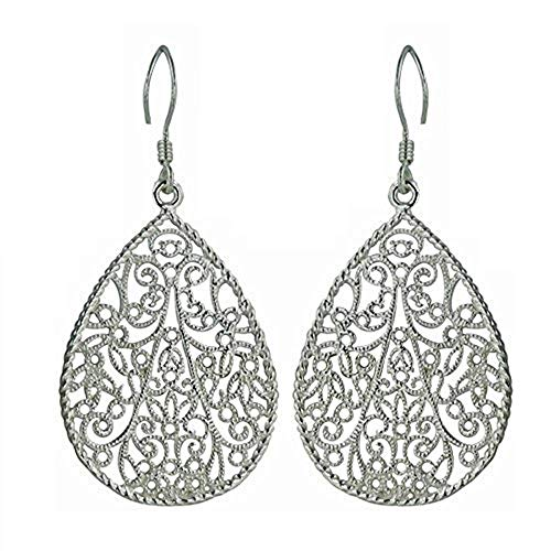 Sterling Silver Filigree Teardrop Earrings - 100% Hypoallergenic & Allergy Free Jewelry