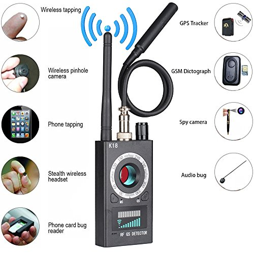 Anti Spy RF detector wireless Bug detector signal for Hidden Camera Laser Lens GSM Listening Device Finder Radar Radio Scanner Wireless Signal Alarm (Device Spy)