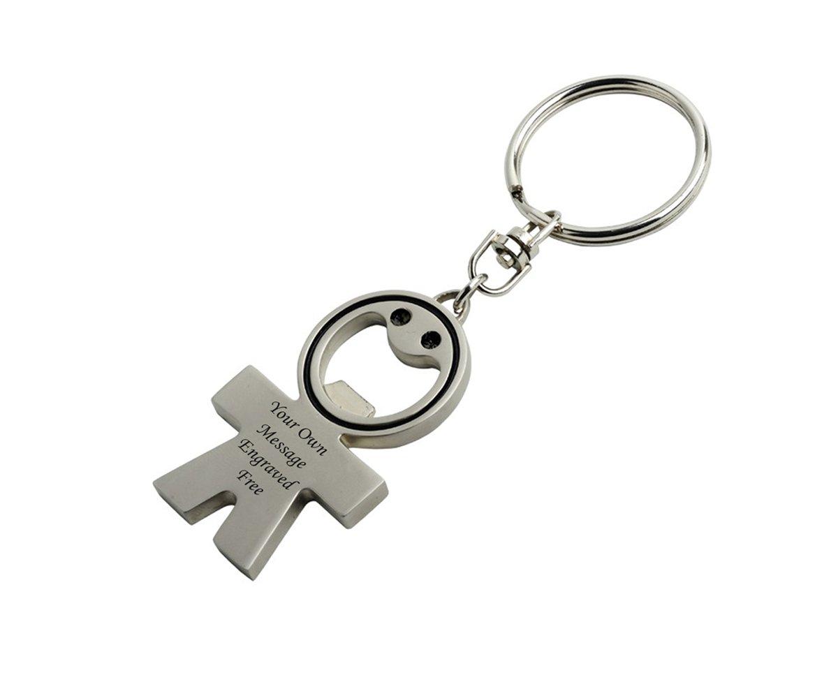 FREE P/&P Bottle Opener Key ring Metal Chrome FREE Engraving