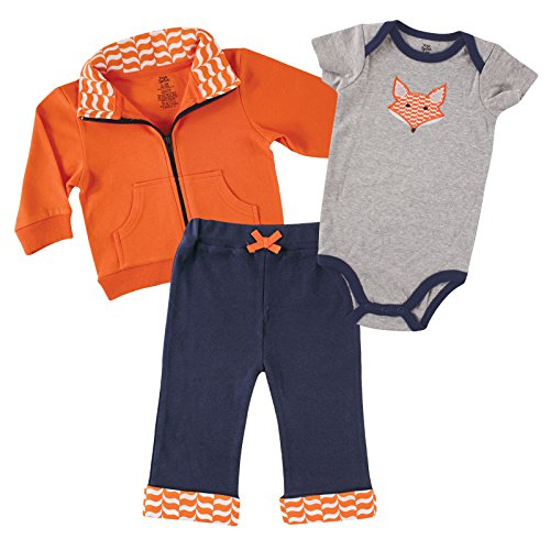 (Yoga Sprout Bodysuit, Pants, and Track Jacket Set, Boy Fox Collection, 0-3 Months)