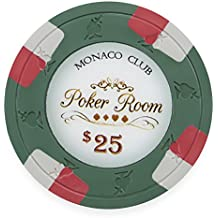 Pack of 50 Monaco Club Poker Chips, Heavyweight 13.5-gram Clay Composite by Claysmith Gaming