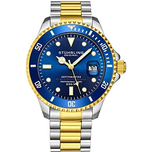 "Mens Swiss Automatic Stainless Steel Professional""DEPTHMASTER"" Dive Watch, 200 Meters Water Resistant, Brushed and Beveled Bracelet with Divers Safety Clasp and Screw Down Crown"