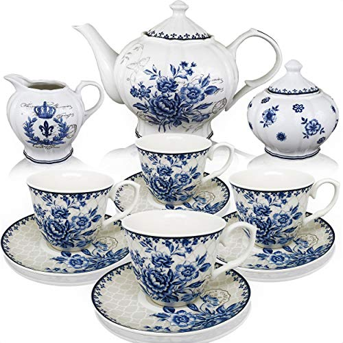 Tea Saucer Teapot Cup Set - BTäT - Tea Set, China Tea Set, Tea Service, Tea Cups (8oz), Creamer and Sugar Set, Tea Cups and Saucer Set, Tea Pot, Tea Set for Adults, Tea Cups Set of 4, Blue Dream Tea Set, Porcelain Tea Set, Cups