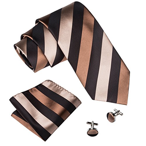 Brown Silk Tie - Barry.Wang Brown Stripe Ties with Handkerchief Cufflinks Tie Set