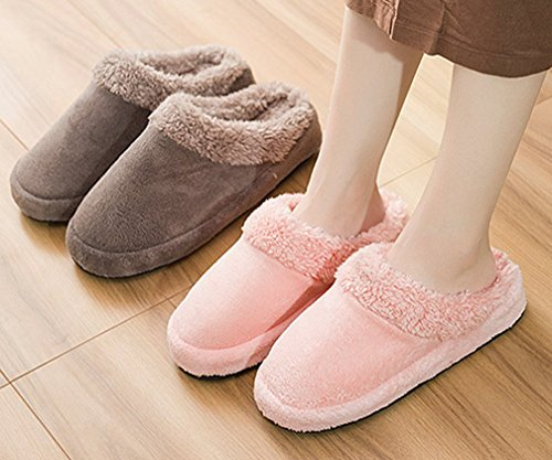 Cattior Womens Fur Lined Warm Slippers Indoor Ladies Fluffy Slippers Orange G16ALES