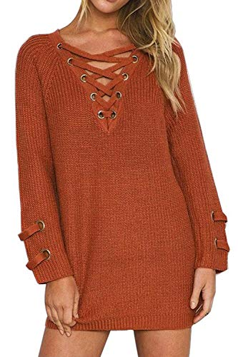 Authentic Women Dress Sweater (BOBIBI Women's Lace Up Front V Neck Long Sleeve Knit Pullover Sweater Mini Dress Top,Orange,Small)