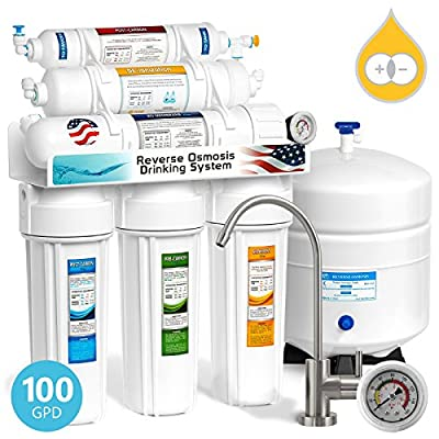 Express Water Deionization Reverse Osmosis Water Filtration System – 6 Stage RO DI Water Filter with Faucet and Tank – 100 GPD with Pressure Gauge – Distilled Pure – Under Sink Home Water Softener