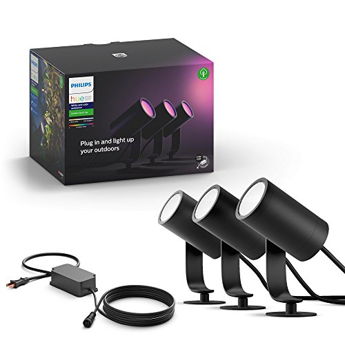 (Philips Hue Lily White & Color Ambiance Outdoor Smart Spot light Base kit (Philips Hue Hub required), 3 Hue White & Color Ambiance Smart Spot Lights plus power supply)