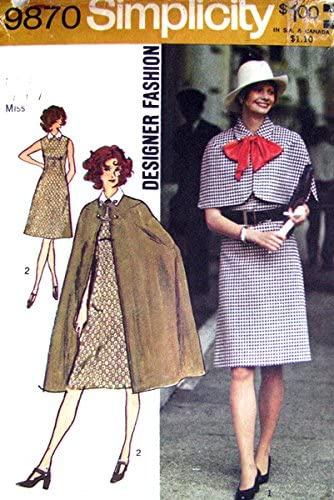 Amazon Com Simplicity 9870 Vintage C 1972 Misses Dress Cape And Capelet Designer Fashion Sewing Pattern See Listing For Size Simplicity Arts Crafts Sewing