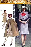 Simplicity 9870 Vintage 1972; Misses' Dress, Cape And Capelet...Designer Fashion Sewing Pattern, See Listing for Size
