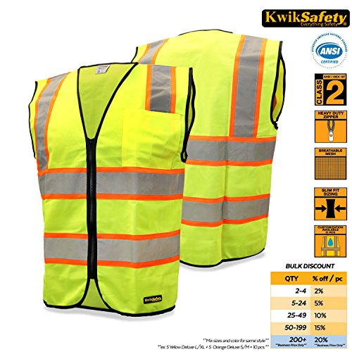 KwikSafety Class 2 Contrasting Construction Safety Vest | Hi Vis Yellow, Heavy Duty Zipper & Chest Pocket| Men Women High Visibility ANSI Motorcycle Construction Security Work Wear | 4XL