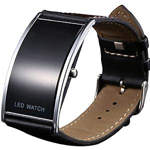 Reloj de pulsera digital con LED de correa ancha, ultrafino, duradero, color negro, unisex 51rOjmolQPL