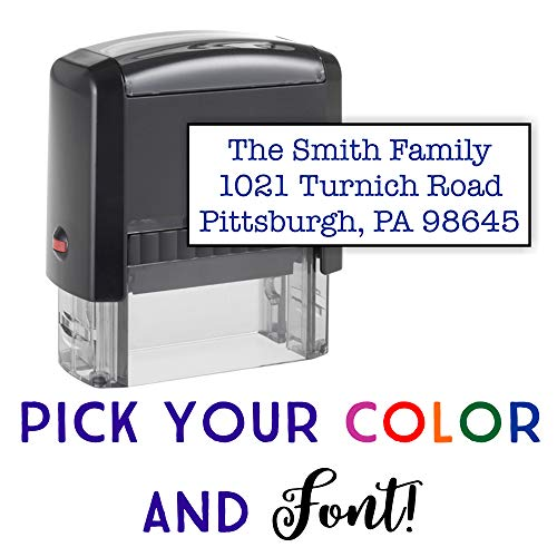 Custom Stamp - 20 Font Options - Self-Inking Address Stamp - Up to 3 Lines (Customized Return Address Labels)