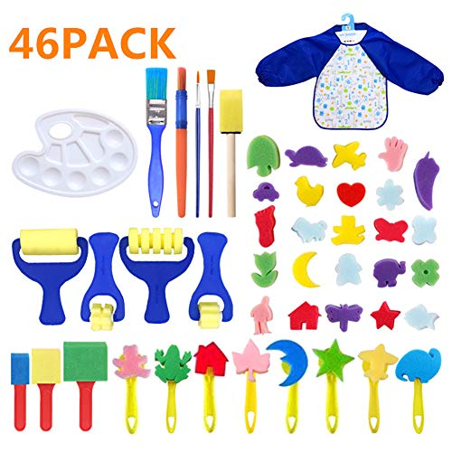 Barbella 46 Pieces Sponge Paint Craft Brushes for Toddlers Assorted Pattern, Including Children Waterproof Art Painting Smock Apron (46pcs)