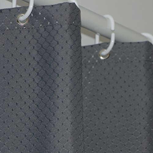Eforgift Modern Charcoal Waffle Weave Fabric Shower Curtain Water Proof Heavy Duty, Elegant Honeycomb Printed Polyester Bathroom Curtain Rustproof Grommets and Hooks, Long 72 x 86-inch