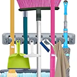 wllindustry Mop Broom Holder Garage Storage Hooks Wall Mounted Organizer Home Tools Storage Rack for Kitchen, Garage, Commercial Bathroom Laundry Room Closet Gardening(5 Position 6 Hooks)